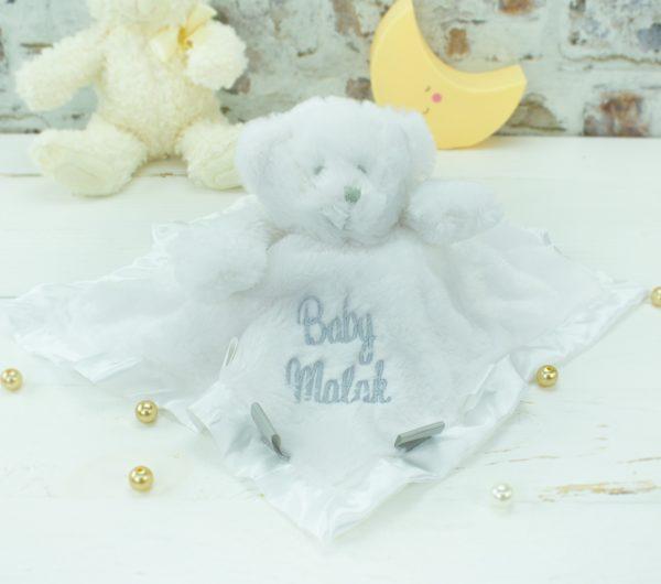 personalised baby comforter - white teddy bear
