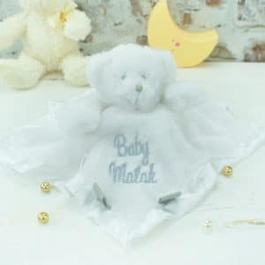 personalised baby comforter - white teddy bear