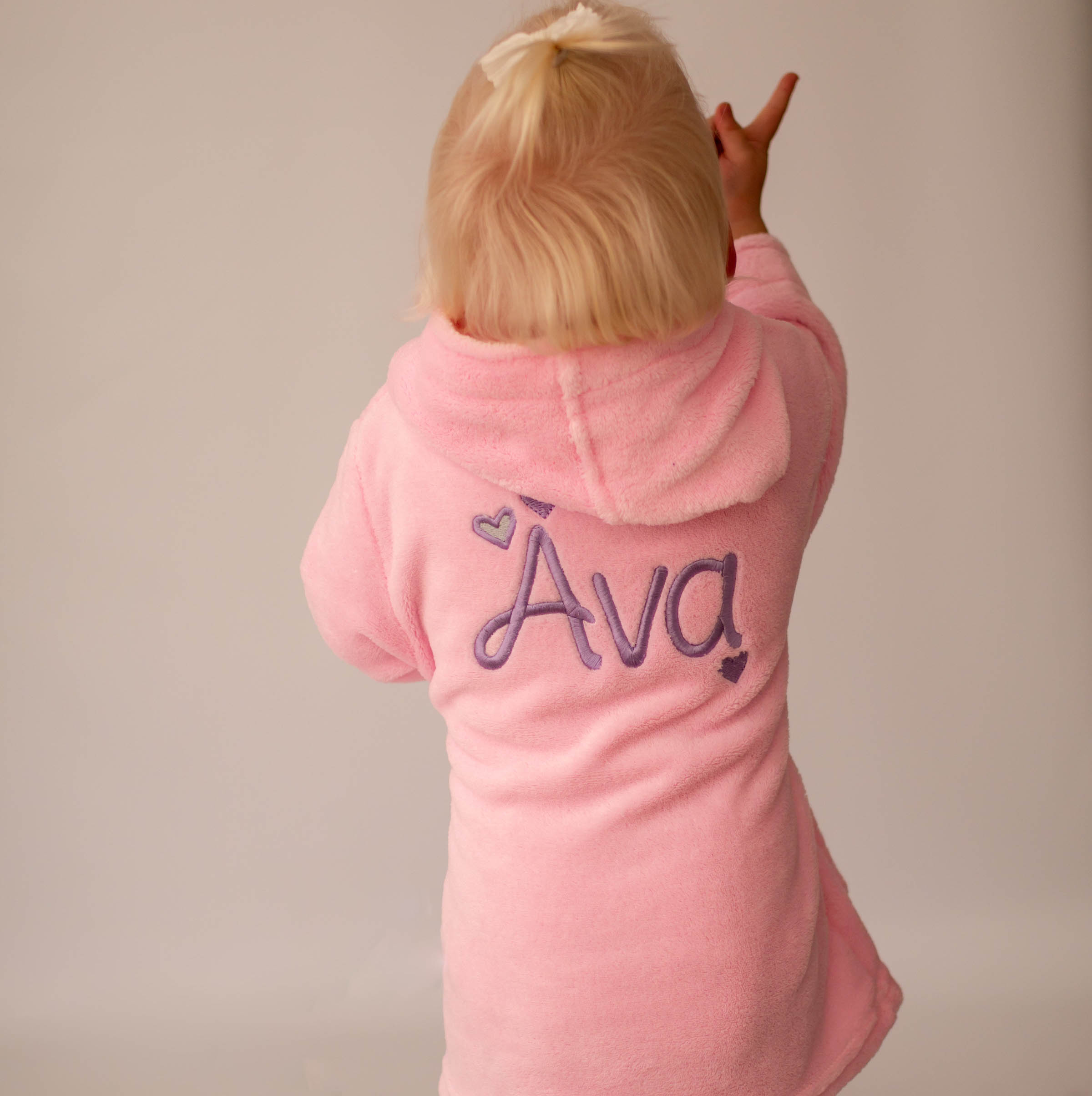 Personalised Heart Pink Dressing Gown Glitter Girls Nightwear Gowns Gifts