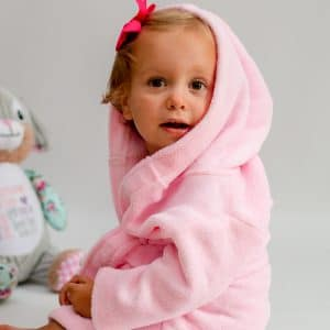 personalised pink baby girl dressing gown