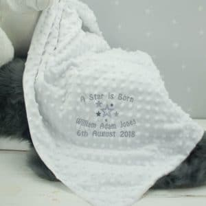 personalised white baby blanket - 'A Star is Born'