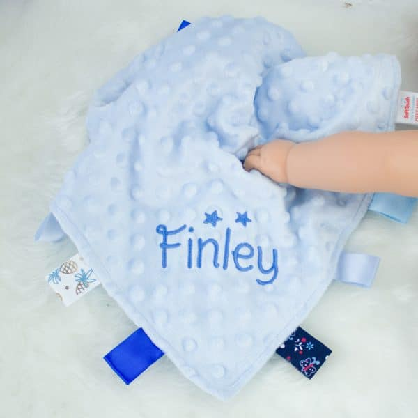 Personalised Baby Boy Taggie Comforter