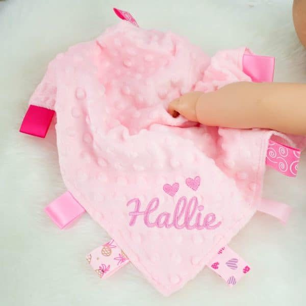Personalised Baby Girl Taggie Comforter