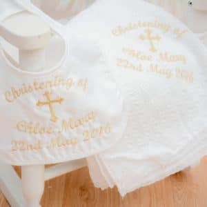 personalised christening shawl and bib gift set