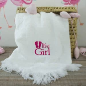 Personalised White Baby Shawl - 'It's a Girl