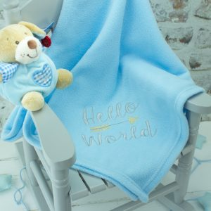 Personalised Baby Boy Blanket - Blue Hello World