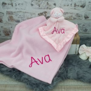 Personalised Pink Teddy Bear Comforter & Blanket Gift Set
