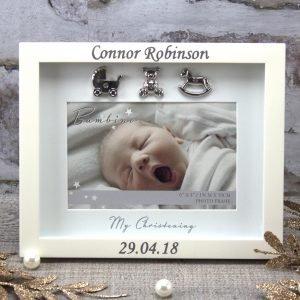 Personalised 'My Christening' Ivory Photo Frame