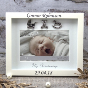 Personalised 'My Christening' Ivory Photo Frame