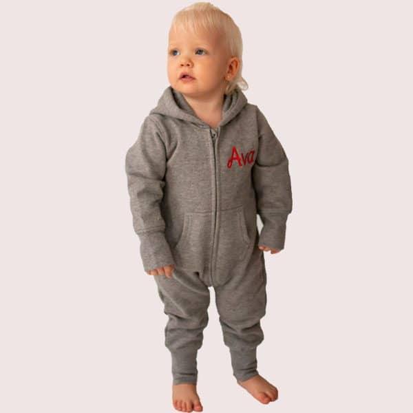 Personalised Grey baby onesie