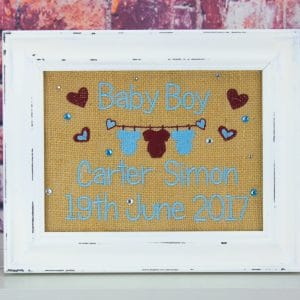 Personalised Hessian Frame - blue