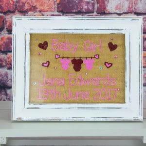 Personalised Hessian Frame - pink