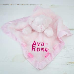 Personalised Teddy Bear Comforter - Baby Girl