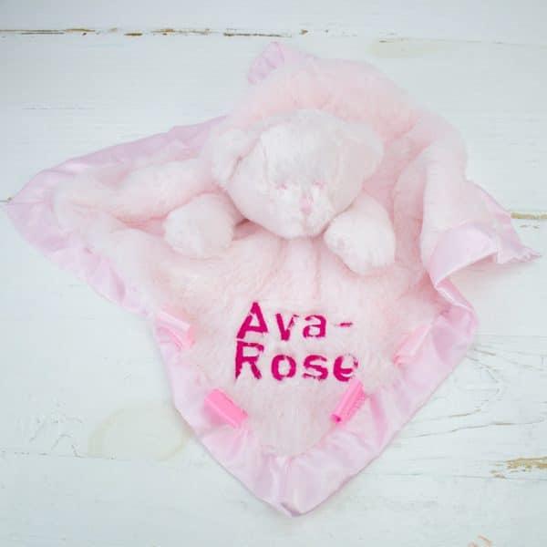 Personalised Teddy Bear Comforter - Baby Girl