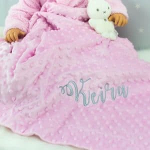 """Personalised Pink Baby Girls Bobble Blanket"""