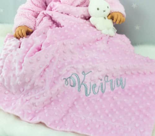 Personalised Pink baby girl blanket - personalised baby gift