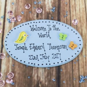 "Personalised ""Welcome to the World"" Blue Wooden Plaque"