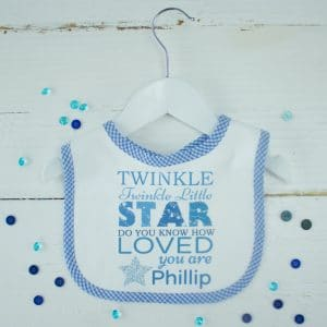 "Personalised Baby Boy Bib - ""Twinkle Twinkle Little Star"""