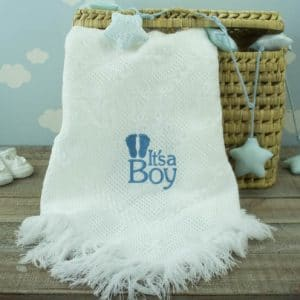 Personalised White Baby Shawl - 'It's a Boy'