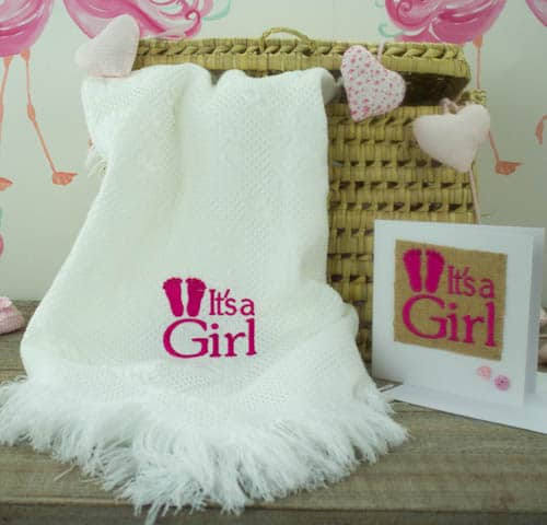 Personalised baby shawl & Card gift set - baby shower gift
