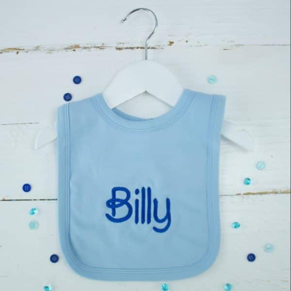 personalised baby boy blue bib