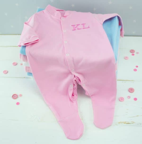 Personalised baby girl sleepsuit - pink