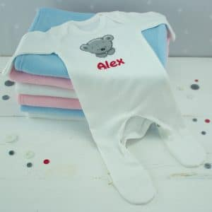Personalised white baby sleepsuit