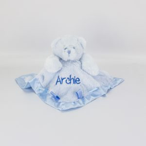 Personalised Blue Teddy Bear Comforter