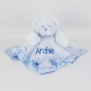 Personalised Blue Teddy Bear Comforter