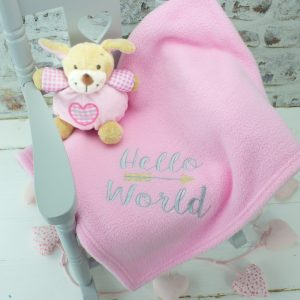 'Pink 'Hello World' Baby Blanket'