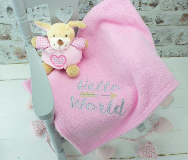 personalised baby girl blanket - pink hello world