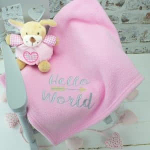 personalised baby girl blanket - pink hello world