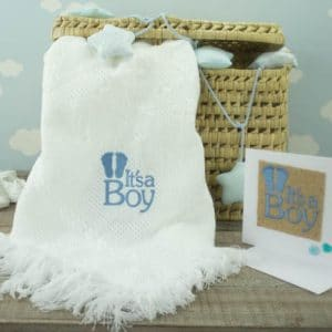 "Personalised White ""It's a boy"" Shawl and Card Gift Set"