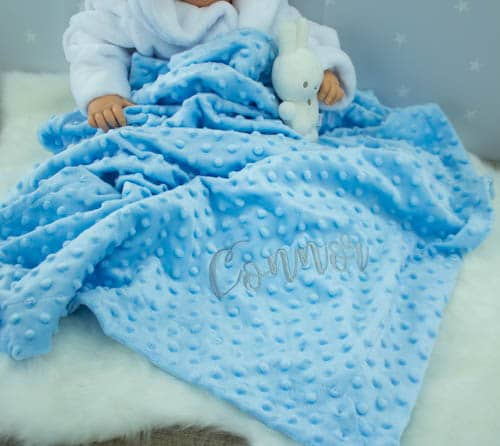 personalised blue baby boy blanket