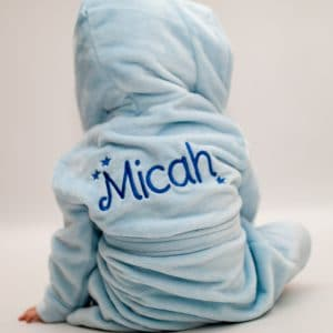 'Personalised Blue Baby Dressing Gown'