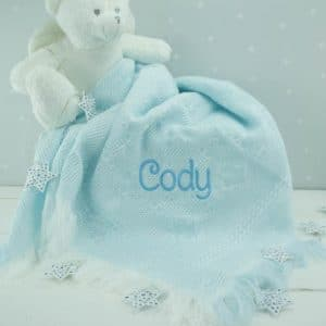 Personalised Baby Blue Shawl