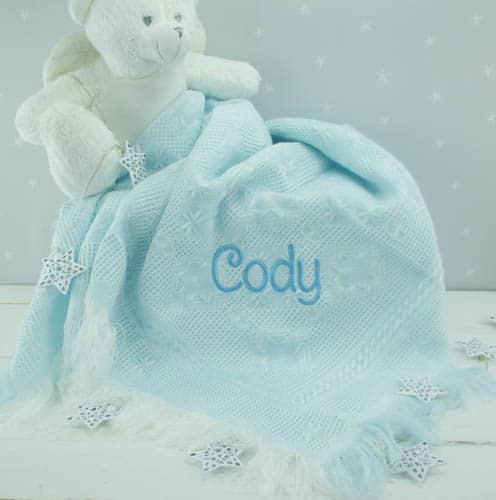 personalised blue baby shawl