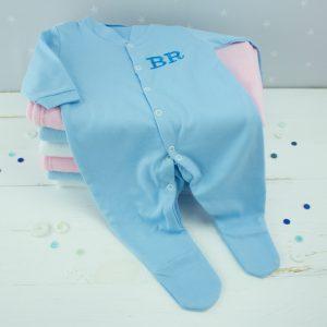 Personalised Blue Baby Boy Sleepsuit