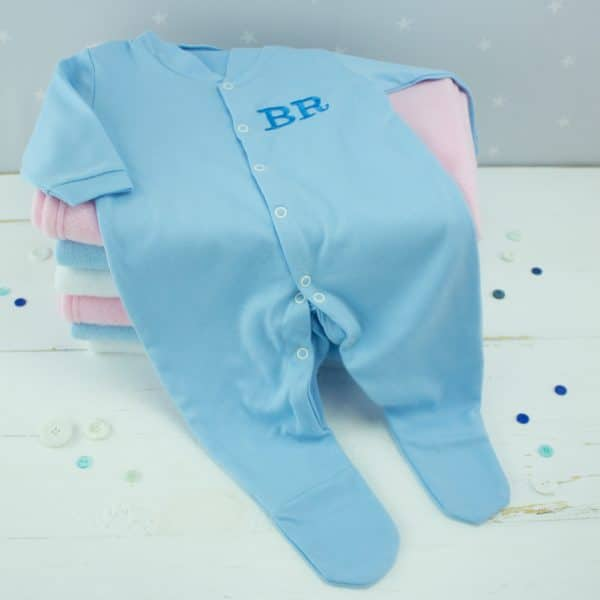 Personalised Baby Boy Sleepsuit - Blue
