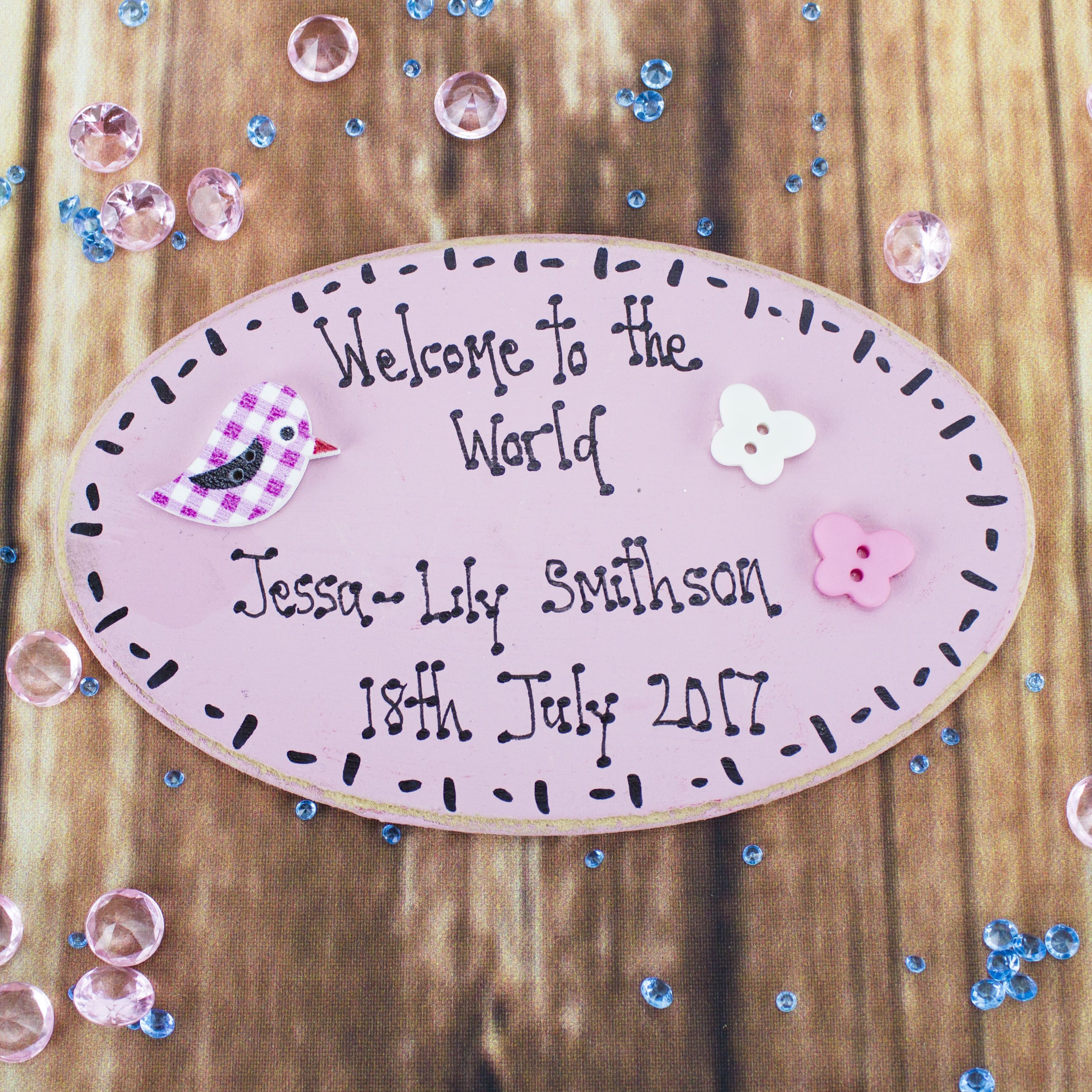 Personalised Welcome To The World Pink Wooden Plaque