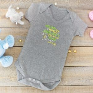 welcome to the world bodysuit - grey