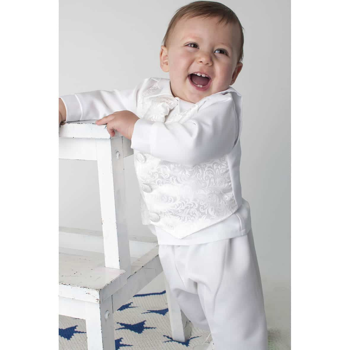 White Paisley 4 Piece Christening Suit