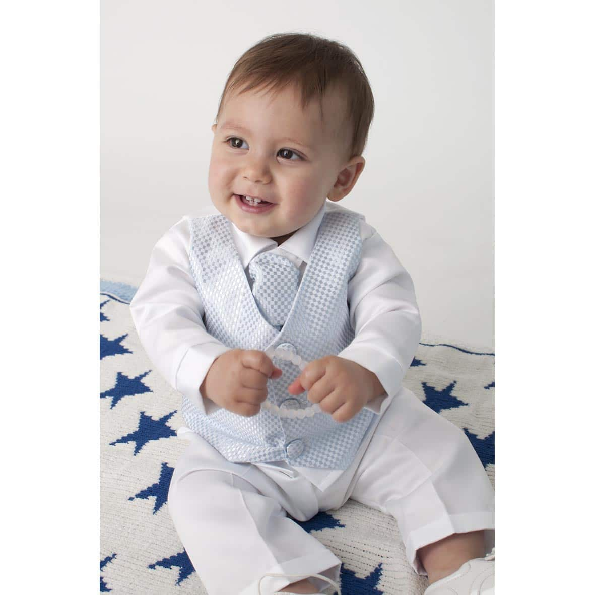 Blue Checked 4 Piece Boys Christening Suit