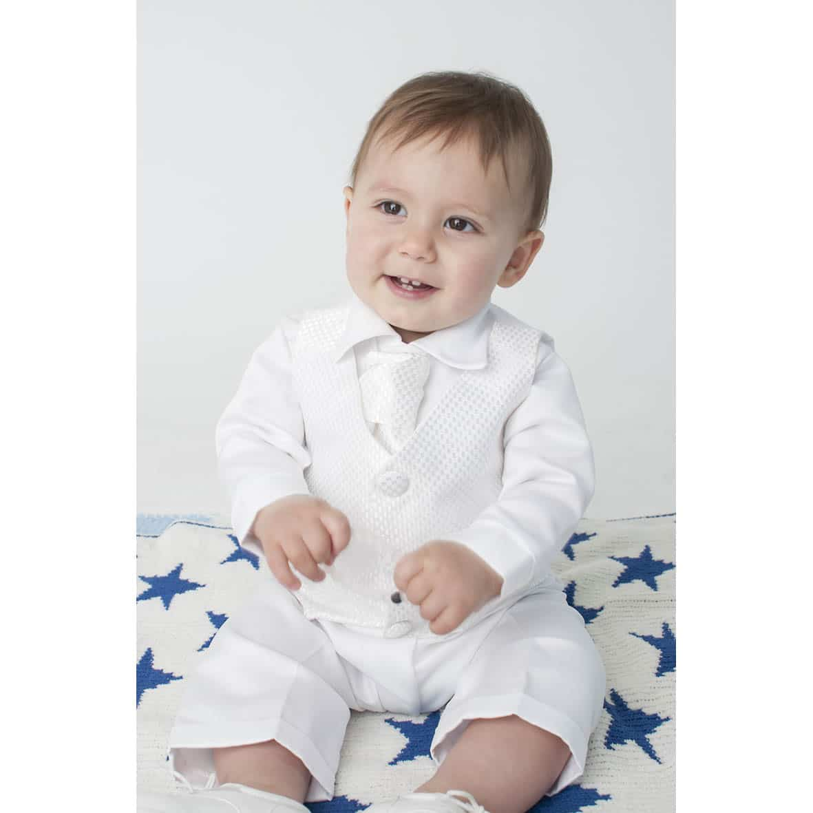 White Checked 4 Piece Boys Christening Suit