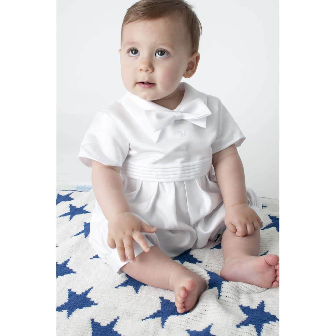 White Boys Christening Bowtie Romper & Jacket