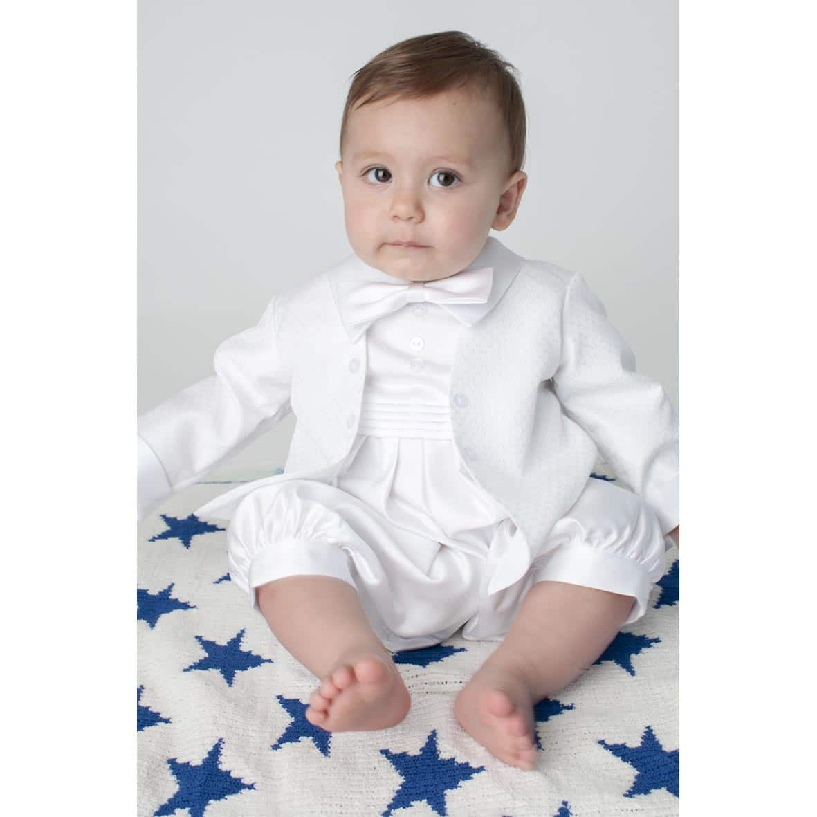 White Diamond Boys Christening Romper & Jacket