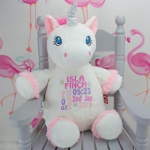 Personalised White 'Aurora' Unicorn Cubbie