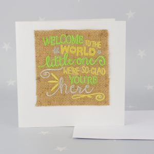 """Welcome to the world"" Hessian Card"