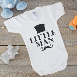 little man baby bodysuit