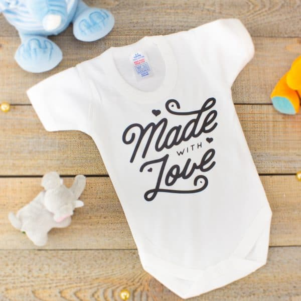 """""""Made With Love baby bodysuit"""